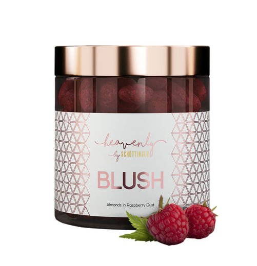 BLUSH - vadelma-maitosuklaakuorrutteinen manteli 150 g, Heavenly by Schöttinger
