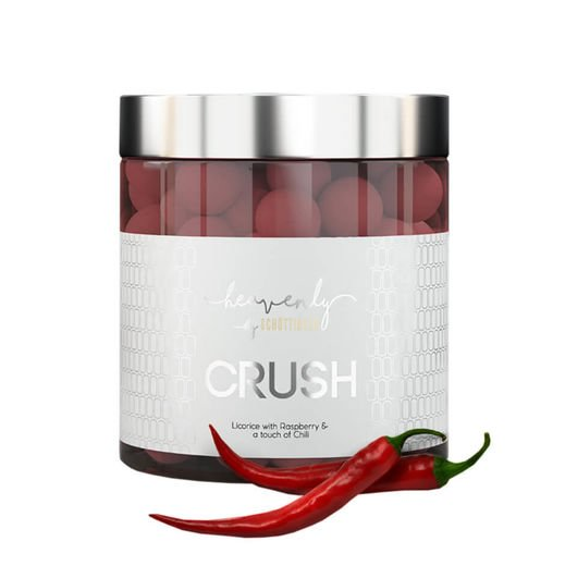 CRUSH - vadelma-chili suklaakuorrutteinen lakritsi 150 g, Heavenly by Schöttinger